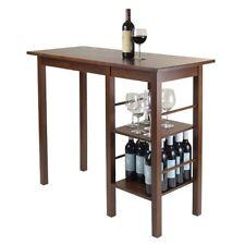 Winsome Egan Breakfast Table w/2 Side Shelves Antique Walnut 94144 New