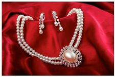Gorgeous Pearl and Silver Rhinestone Bridal Wedding Necklace and Earrings Set C1