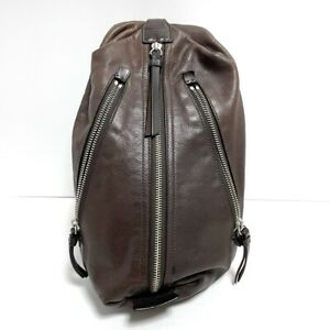 Auth COACH Thompson Leather Sling Pack 70360 Dark Brown Leather Nylon Backpack