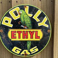 VINTAGE POLLY ETHYL GASOLINE PORCELAIN METAL SIGN PARROT GAS STATION PETROLIANA