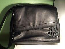 Worthington Black Leather Purse Soft Small Shoulder Bag Zipper Pockets EUC