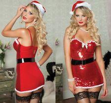 Ladies Costume Red Christmas Santa Xmas Fancy Mini Dress Sexy lingerie 8 10