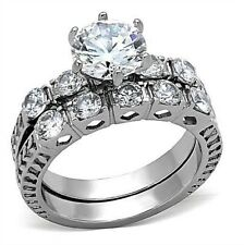 PLATINUM/STEEL ALLOY 2.27 CARAT FIERY SIMULATED MOISSANITE WEDDING  RINGS SIZE 8