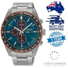 SEIKO Solar Blue Dial Chronograph Stainless Tachymeter V176 SSC717 Mens Watch