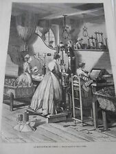 Engraving 1874 the Manufacture of Tobacconist's Appetizer packages tobacco in