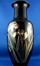 Vintage JAPANESE PORCELAIN IRIS BLACK Large Tall Vase VG Collectable - In Aust