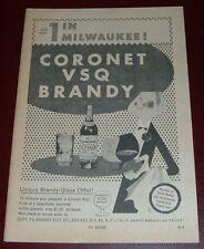 1959 CORONET VSQ BRANDY AD~#1 IN MILWAUKEE~BRANDY GLASS PROMO OFFER