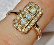 9ct Oro Giallo Opale Cabochon Art Deco Design Donna Cluster Anello-Taglia P
