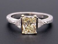 GIA Certified Platinum 1.30ct Radiant Cut Fancy Yellow Diamond Engagement Ring