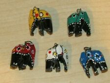 Vintage lot of 5 Hand Painted Wooden Elephant Charms Very Nice Set