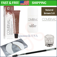 Combinal 5-PCS Kit: NATURAL BROWN Color 5.0 Eyebrow Eyelash Tint Set Hair Dye