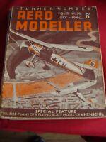 RARE VINTAGE  AEROMODELLER JULY 1940 MODEL AIRCRAFT HENSCHEL THE CYGNET