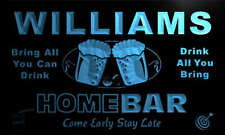 p606-b Williams Personalized Home Bar Beer Family Name Neon Light Sign
