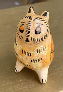 Mexican Folk Art Red Clay Hand Painted Owl Figurine Animal Whistle