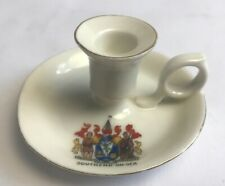Vintage Crested China Southend On Sea Candle Chamber Stick Holder Gemma China