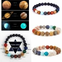 Weave Bracelet Galaxy Solar System Eight Planets Theme Natural Stone Beads Gift