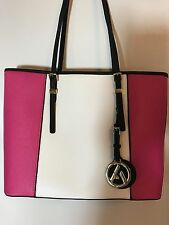 Large Pink/White/Black Synthetic Leather Cloth Lined Tote Gold Tone Trim