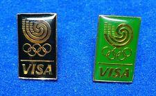 Pair 2 Visa Credit Card Bank Charge 1988 Seoul Korea Olympic Pins by Eden Arts z