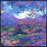 RAINBOW MOUNTAIN Original Abstract Landscape Knife Painting 10x10 Canvas TEXTURE