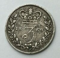 Dated : 1869 - Silver Coin - Threepence - 3d - Queen Victoria - Great Britain