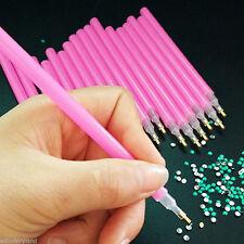 5Pcs Dual-ended Nail Art Rhinestone Gem Picker Pink Dotting Pen Manicure Tips