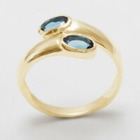Solid 9ct Yellow Gold Natural London Blue Topaz Womens Band Ring - Sizes J to Z