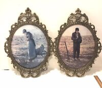 """Pair Vtg Oval Convex Dome Glass Pictures Ornate Brass Frame Farmer Praying 17"""""""
