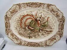 "Johnson Bros Wild Turkeys Native American Windsor Ware 20"" Platter Stunning"