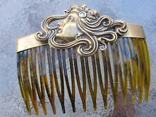 Vintage Hair Comb Lady Breeze Antiqued Brass Faux Shell Comb  Made in USA 013