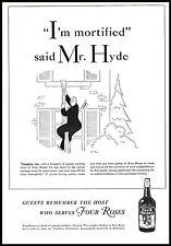PUBBLICITA' 1940 FOUR ROSES WHISKEY MR. HYDE VIGNETTA BOTTIGLIA DRINK BAR ARREDO