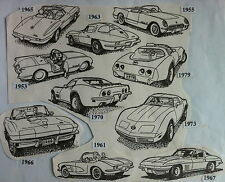 Set of 10 Corvette RUBBER STAMPS 1953 -1979 55 56 61 63 65 67 70 76 unmounted UM