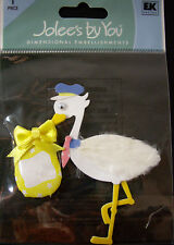 NEW 1 pc NEW BABY STORK WITH SIGN Feathers Bundle Delivery JOLEE'S 3D Stickers