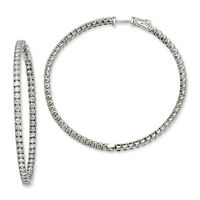 Sterling Shimmer Sterling Silver Rhodium Finish CZ Round Hoop Earrings 51mm