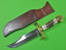 Custom Hand Made by T.W. DOWNING Huge Heavy Bowie Hunting Knife Dagger & Sheath