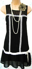 SIZE 14 16 20'S DECO GATSBY CHARLESTON FLAPPER STYLE RETRO DRESS - US 12 EU 44