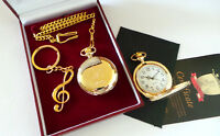 GENUINE 24k Carat GOLD clad Elvis Presley Note Keyring Keyring PLUS Pocket Watch