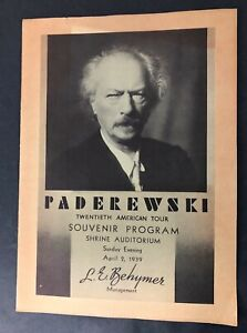 Vtg 1939 Ignace Jan Paderewski Concert Program Polish Classical Music Shrine LA