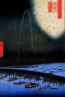 Utagawa Hiroshige Fireworks at Ryogoku Harbor Art Print Poster 24x36 inch