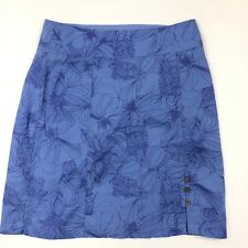 Royal Robbins Womens Skirt Blue Floral Organic Cotton Blend Size 6