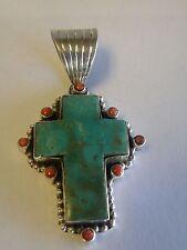 """2 1/4 """"  Turquoise / Red Spiney Oyster Cross Pendant Daniel Dodson - 1/2 """" bezel"""