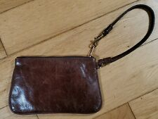 Vintage  Brown Leather Wristlet Clutch Bag w/ Silk Paisley Lining