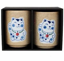 "Japanese 4-1/8""H Porcelain Tea Sushi Coffee Cup Maneki Neko Lucky Cat Design"