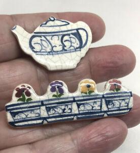 2  Dedham Pottery Vintage Hand Painted Pins- Flower Box & Teapot - AF01, OAR99