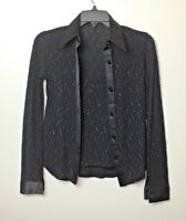 Collezione 2000 Black Blouse & Tank Top Set Fitted Button Front Beaded Sequin Sm