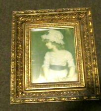 Antique golden ornate gesso and wood deep frame with pretty young girl
