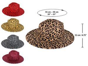 Fedora Leopard Print Men Women Felt Vintage Style Wide Brim Panama Cotton Blend