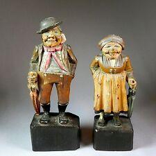 PAIR of Old Anri Carved Wood Figurines c1925 Man & Woman w Umbrellas Orig Label