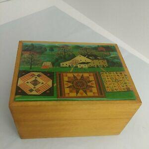 "Wood Trinket Sewing Box Acrylic Quilt Theme Top Brass Hinges 7""x 5.5""x 4"" (1B2)"