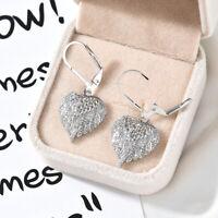 Fashion 925 Silver Drop Earrings White Sapphire Women Wedding Jewelry A Pair
