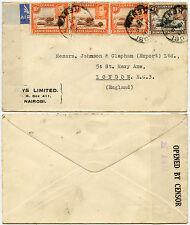 Il Kenya KUT WW2 1942 POSTA AEREA + censurare per GB... ELYS Ltd BUSTA